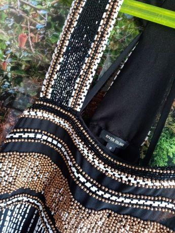 0RIVER ISLAND TOP Przepiękny zjawiskowy ręcznie zdobiony na ramiączka