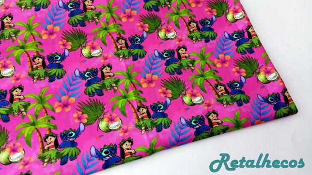 Retalhos Algodão Lilo e Stitch 50 x 47 cm