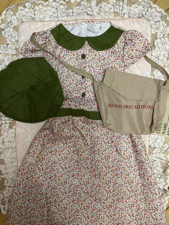 Красивое платье для девочки с беретом и сумкой, 7-9 л