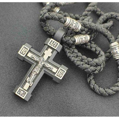 Нательный крест из дерева в серебряными вставками