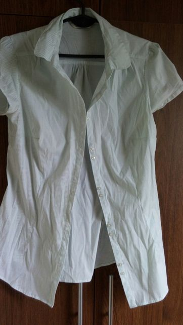 koszula camaieu r 42 w jasno zielone paski elegancka