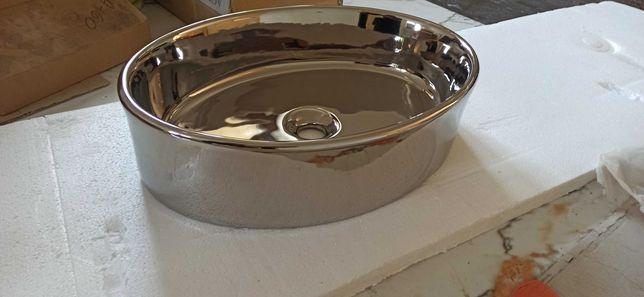 Umywalka nablatowa srebrna