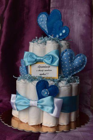 tort z pieluszek, torcik pieluszkowy, baby shower, urodziny