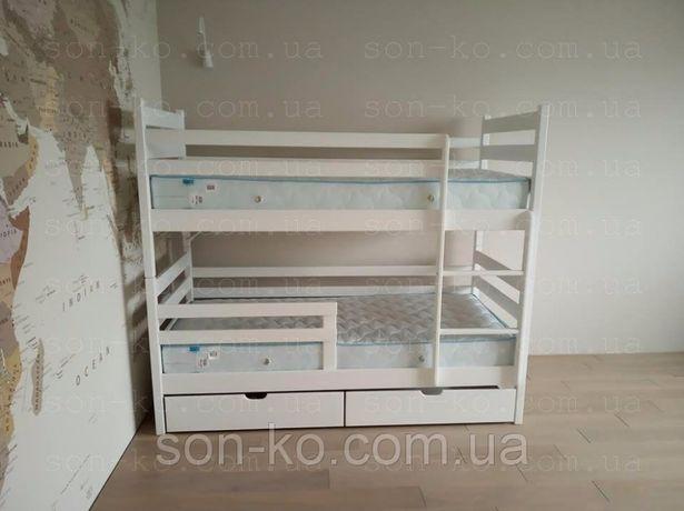 Двоярусне ліжко з масиву бук Кароліна Двухъярусная кровать Каролина