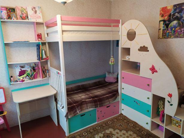 Детская деревянная Кровать кроватка двухьярусная