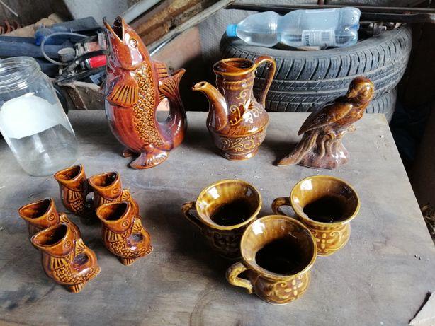Ceramiczna ryba, wazon, szkło prl