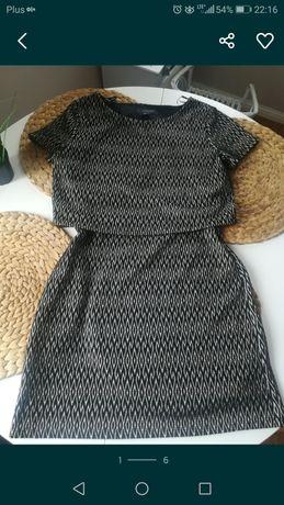 Sukienka dwuczęściowa komplet zestaw spódnica bluzka wzór print