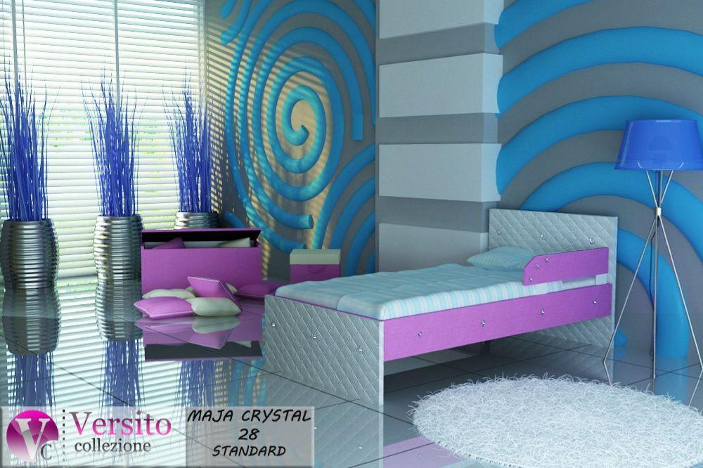 Łóżko dla dziecko, łóżeczko dziecięce biel-róż, kryształy-Piława Piława Dolna - image 1