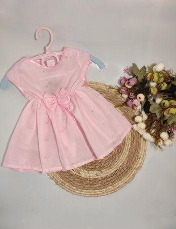 Платье батист розовое 74-80