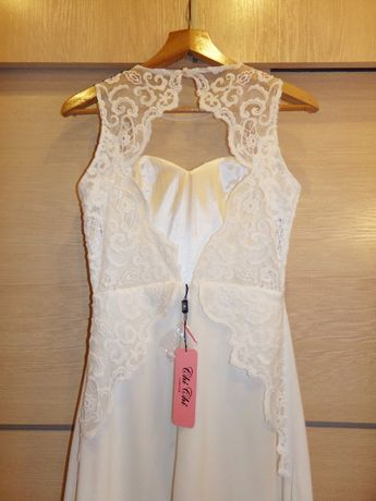 NOWA! Sukienka suknia ślubna Chi Chi London koronka długa maxi biała