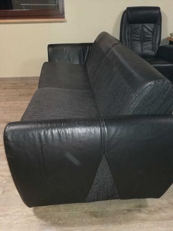 Sofa, kanapa Swarzędz skóra rozkładana, czarna.