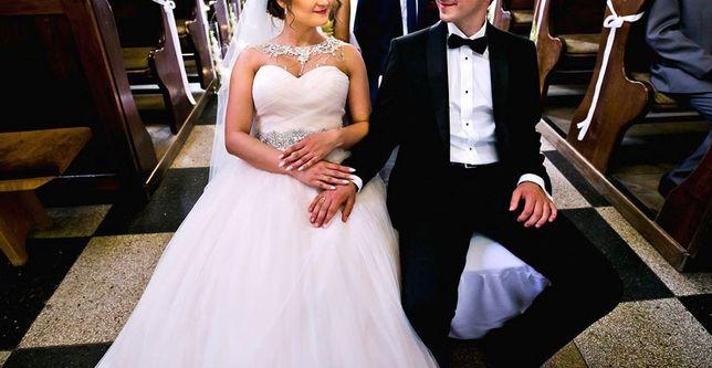 Smoking garnitur zestaw ślub wesele marynarka mucha szelki pasek buty