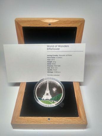 "Монета ""World of Wonders Eiffeltower"", Эйфелева башня, серебро."