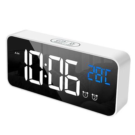 Часы настольные электронные LED зеркальные Losso Premium (BT) - белые