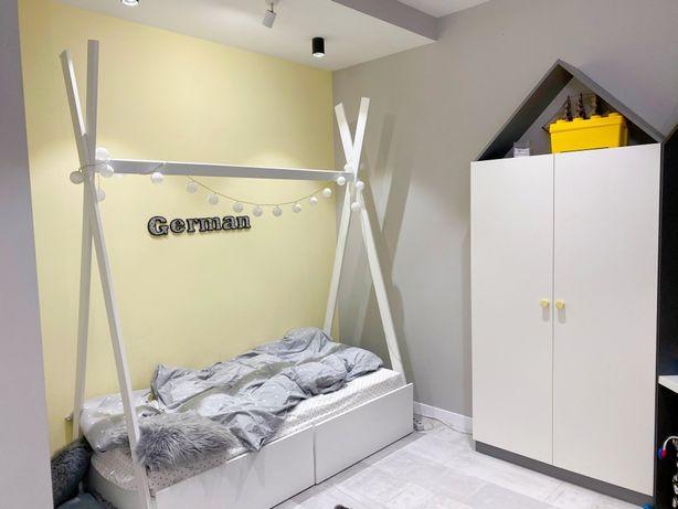 Продам детскую кровать белую 90 на 180 см, крашенное дерево