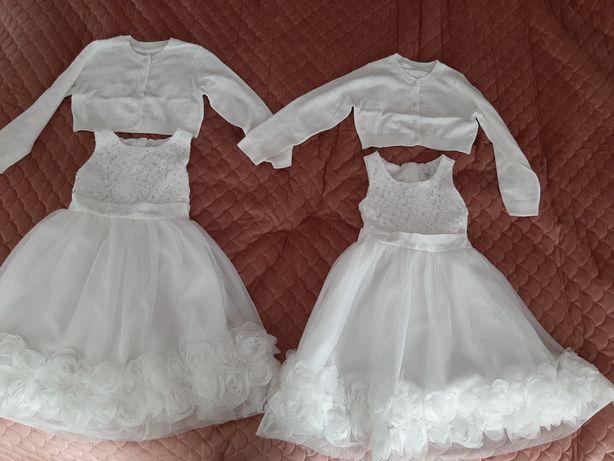 Sukienka Smyk biała 104-110 Bliźniaczki, dla bliźniaczek