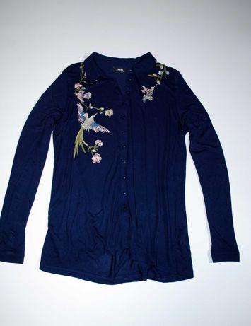 Рубашка блуза блузка синяя с вышивкой Англия M L zara moschino свитер