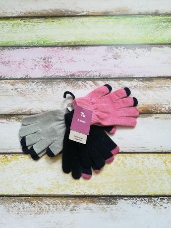 Новые рукавички для девочки для сенсорных экранов 3 пары
