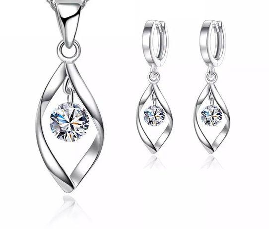 PREZENT/Komplet biżuterii srebrnej: kolczyki+łańcuszek z zawieszką