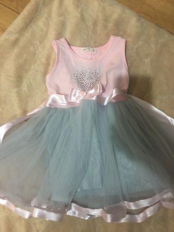 Отличное розовое с серой юбкой платье Breeze с сердечком