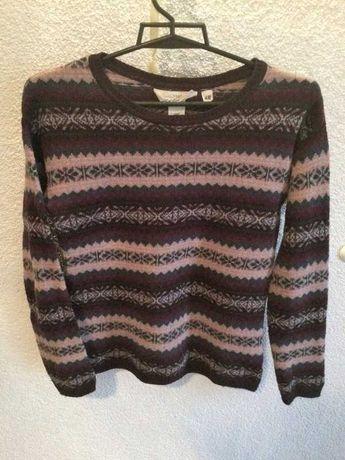 Sweter w paski fioletowo różowy alpaka H&M S XS