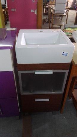 Lavatório e movel de casa de banho NOVO castanho e branco