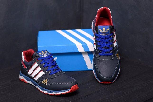 Без предоплаты Новые Мужские кожаные кроссовки Adidas Tech Flex Blue