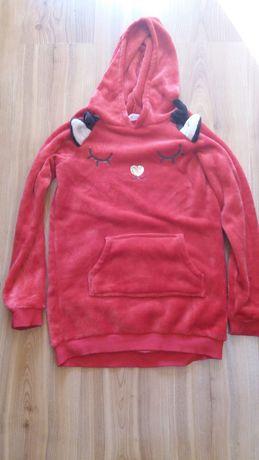 Czerwona bluza, renifer, h&m, 134/140