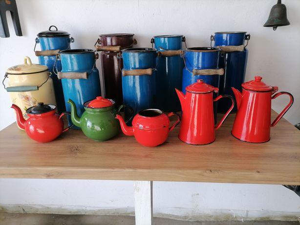 Kanka czajnik imbryk emaliowane PRL ozdoba vintage do domu do ogrodu