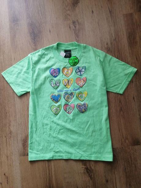 Nowa świecąca fluoresencyjna koszulka t-shirt zielona z brokatem
