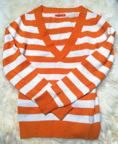 Sweter z długim rękawem Terranova, w biało-pomarańczowe paski, rozm. M