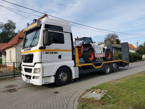 Pomoc drogowa, transport maszyn budowlanych lawetą ciężarową