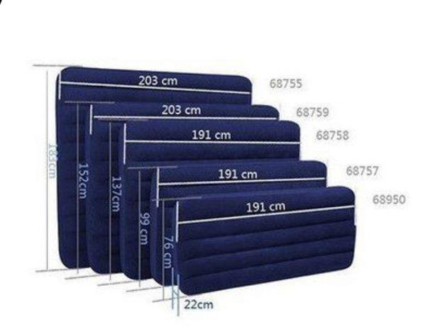Велюровый Надувной Матрас Intex/ 5 размеров
