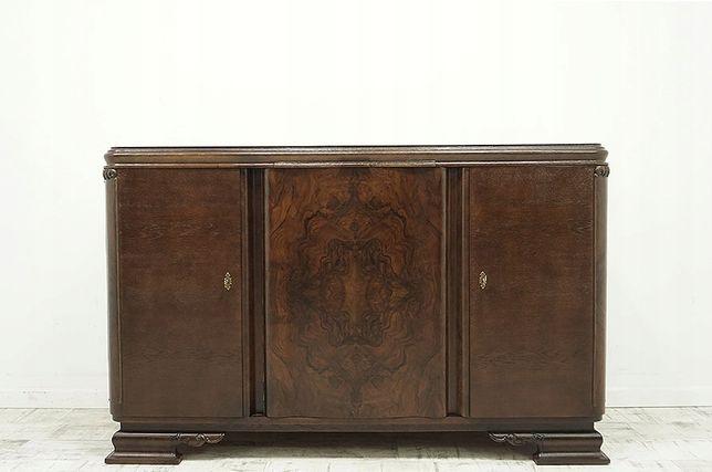 Antyczna komoda z lat 30-tych po renowacji z drewna dębowego i orzecha