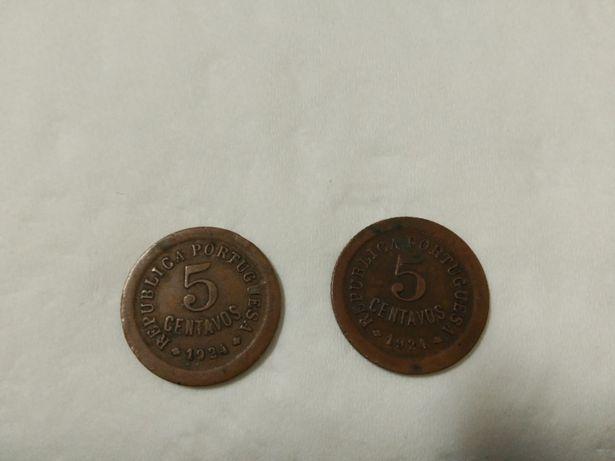2 moedas de 5 centavos de 1924