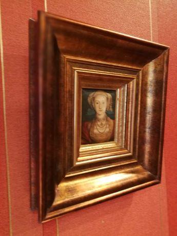 "Stary obraz miniatura na jedwabiu-""Portret Anny de Cleves"""