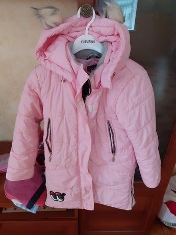 Зимняя куртка-пальто на девочку 5-6лет