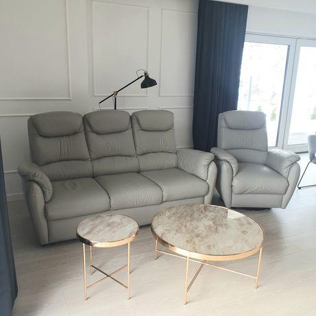 Komplet wypoczynkowy sofa, fotel, skóra