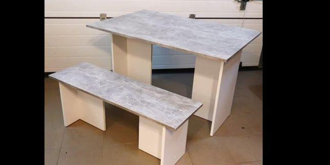 NOWY Stół z ławką Kolor BETON/Biały
