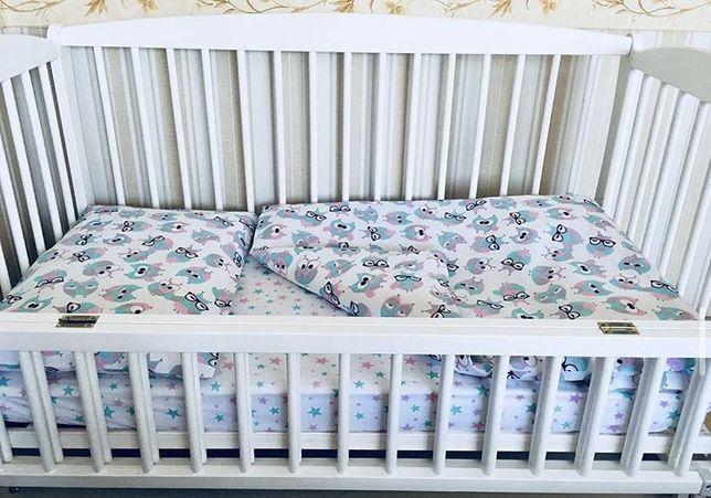 """Детское постельное белье """"Совушки"""" на кроватку 120х60"""