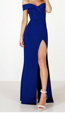 Sukienka suknia długa chabrowa z rozcięciem