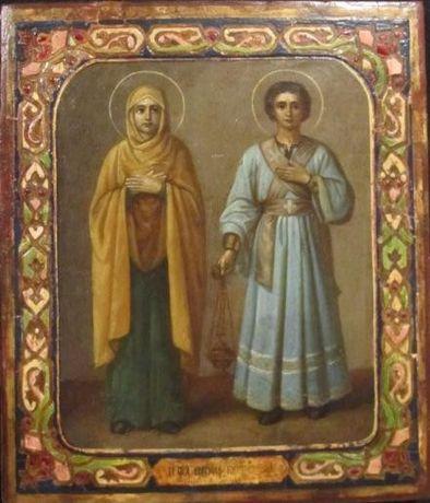 Икона святая Евгения и Пантелеймон 19 век