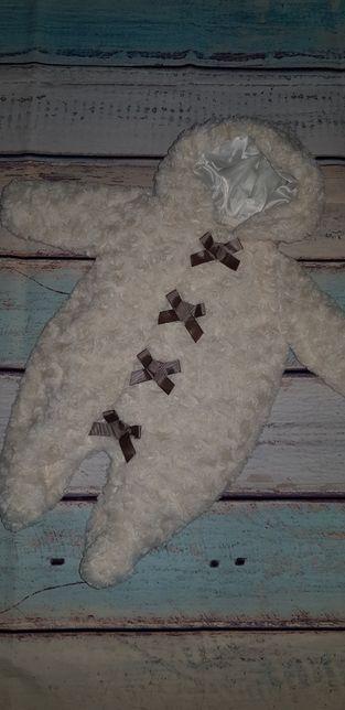 Bebe Bonito uroczy kombinezon ecru krem kokardki 56 62