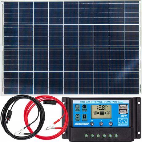 Panele fotowoltaiczne bateria słoneczna 100W 12V regulator (ZES207)
