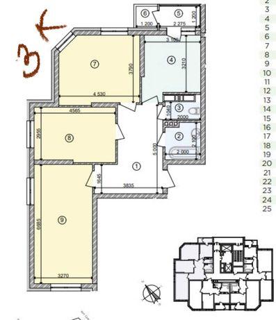 Продается 3к квартира 89м2 ЖК Голосеевская долина
