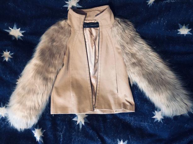 Красивое шерстяное пальто Zara Basic с объемными рукавами под ламу