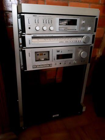 AKAI, amplificador AM -u 02 ,rádio, leitor cassetes movel colunas