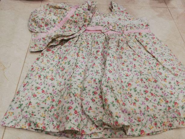 Conjunto vestido + chapéu novo tamanho 3-6 meses