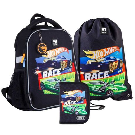 Школьный набор рюкзак + пенал + сумка Kite Hot Wheels HW21-555S