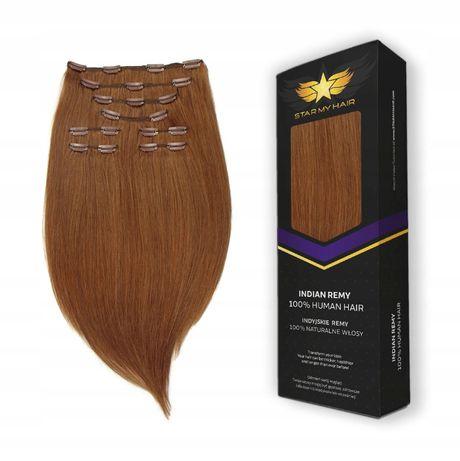 CLIP IN ON Włosy naturalne doczepiane 8 taśm 40-45 cm GĘSTE